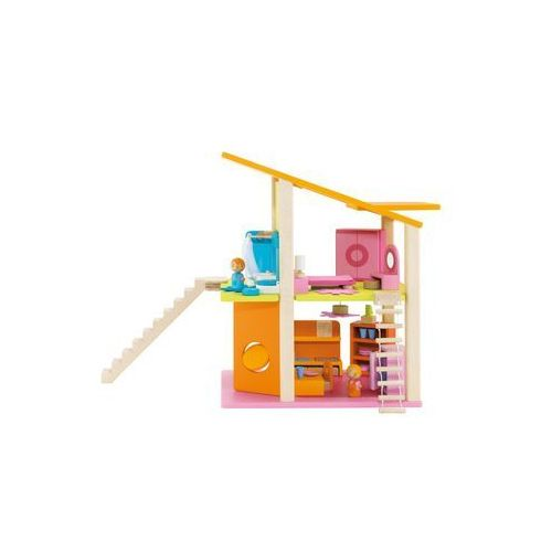 Sevi, Zabawka drewniana, Mały domek dla lalek z wyposażeniem, 30 elementów ze sklepu Smyk