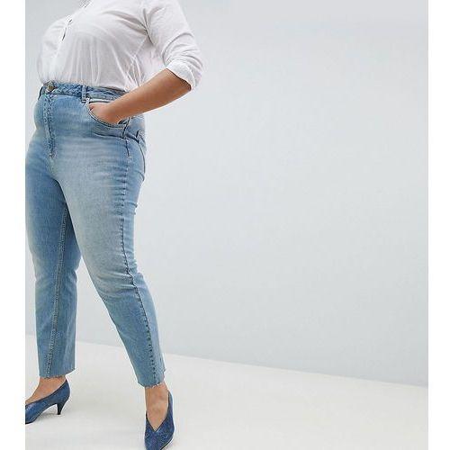 farleigh high waist straight leg jeans in dusty mid wash with raw hem - blue, Asos curve