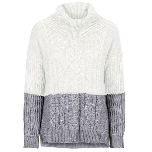 Sweter dzianinowy w warkocze bonprix szaro-biel wełny, dzianina
