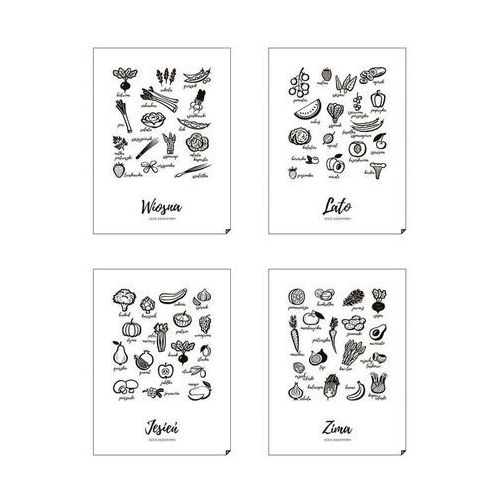 Plakat wiosna, lato, jesień i zima - jedz sezonowo 4 szt. 50 x 70 cm marki Follygraph