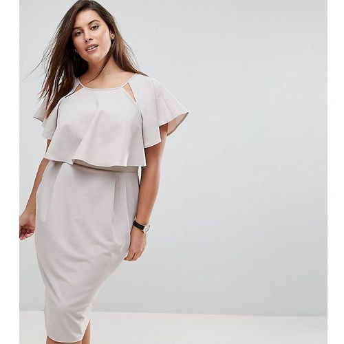 double layer midi wiggle dress with angel sleeve - grey marki Asos curve
