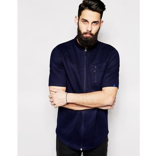 2xH Brothers Zip Shirt With Short Sleeves - Blue - sprawdź w ASOS