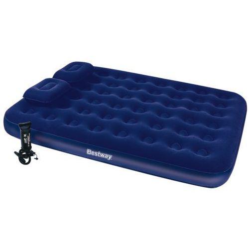 Bestway Dmuchany, flokowany materac z poduszkami pompką 203 x 152 22 - produkt z kategorii- materace, maty, karimaty