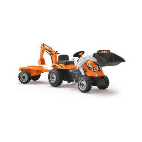 Smoby Traktor Builder Max z przyczepą o ładowaczem - pomarańczowy