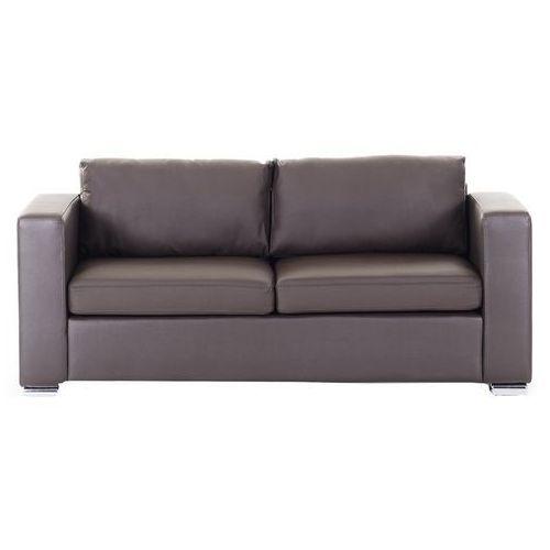 Skórzana sofa trzyosobowa brązowa - kanapa - HELSINKI