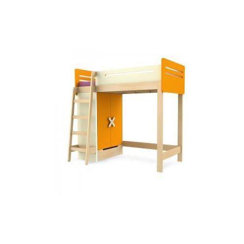 Łóżko piętrowe z szafą prawe/lewe TIMOORE SIMPLE 200/90cm kolor pomarańczowy - oferta [05e4d348339f65f6]