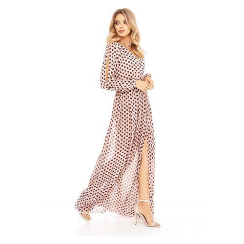 Sugarfree Sukienka penelopa brzoskwiniowa w kropki