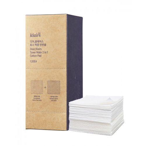 Klairs dwustronne płatki kosmetyczne, toner mate 2 in 1 cotton pad 120szt (8809115028150)