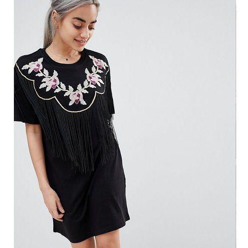 ASOS DESIGN Petite embroidered yoke western t-shirt dress with fringing - Black, kolor czarny