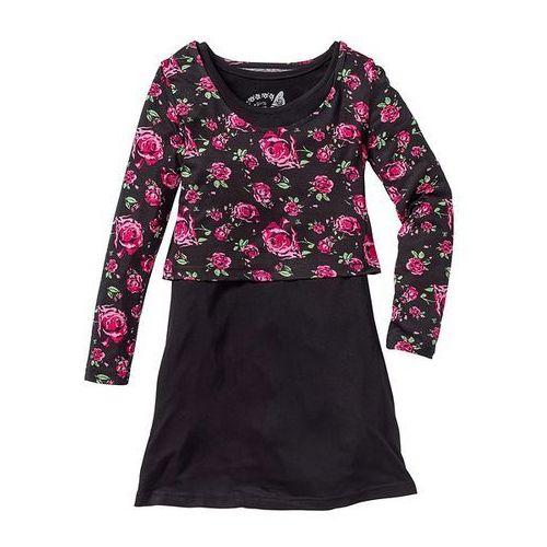 Sukienka + shirt (2 części) bonprix czarny z nadrukiem (sukienka dziecięca)