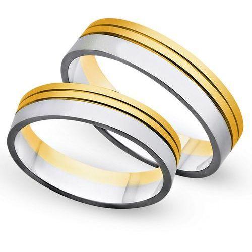 Obrączki z żółtego i białego złota 5mm - O2K/116 - produkt dostępny w Świat Złota