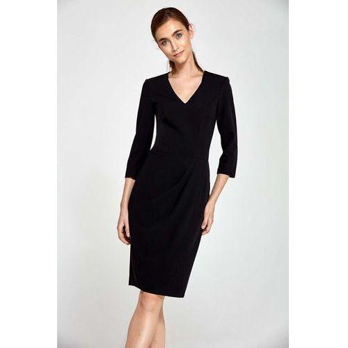 b06e582972 Czarna Sukienka z Asymetrycznym Drapowaniem
