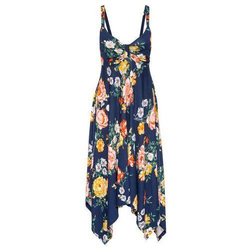 f2f62604bb Sukienka z asymetrycznym dołem bonprix ciemnoniebieski w kwiaty 89