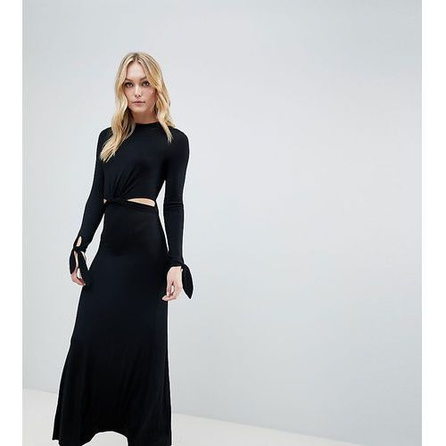 ASOS DESIGN Tall maxi dress with long sleeve and cut outs - Black