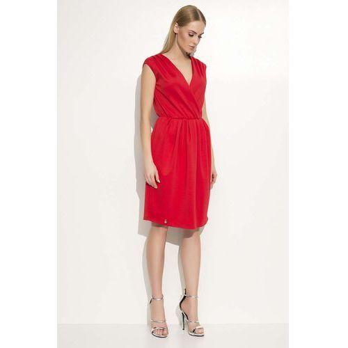 Czerwona sukienka z kopertowym dekoltem, Makadamia, 36-42
