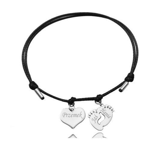Br1003 bransoletka z grawerem srebrna na sznurku zawieszka delikatna tanio marki Mak-biżuteria