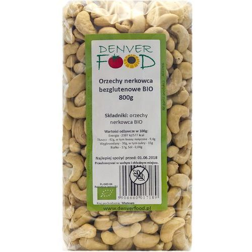Denver food Orzechy nerkowca bezglutenowe bio 800 g (5906660017189)