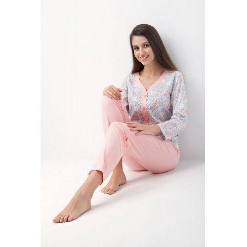 Bawełniana piżama damska LUNA 413 łososiowa, LUNA 413