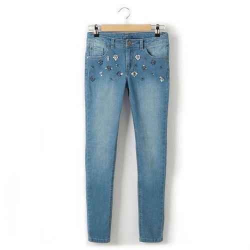 Dżinsy skinny, z ozdobieniami w świecidełka, dziewczęce, dla 10 - 16 latek - produkt dostępny w La Redoute