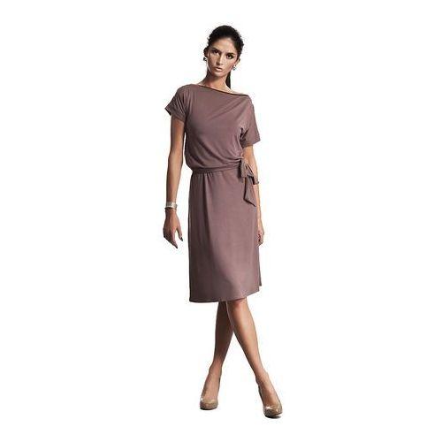 Wyjątkowa Sukienka z Suwakiem w Kolorze Mocca, kolor brązowy