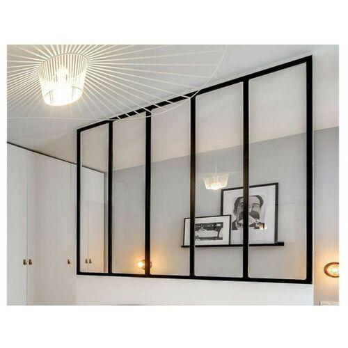 Vente-unique Przeszklona ścianka bayview z aluminium lakierowanego na czarno - 150x130 cm
