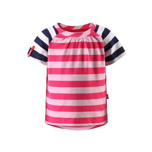 Reima T-shirt koszulka  z krótkim rękawem sampi różowo/biało/granatowe paski