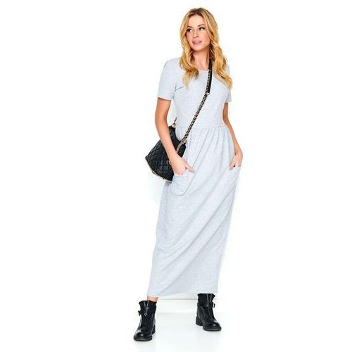 Makadamia Szara długa dresowa sukienka z kieszeniami