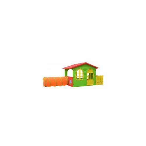 Mochtoys Duży domek ogrodowy dla dzieci z tunelem i płotkiem