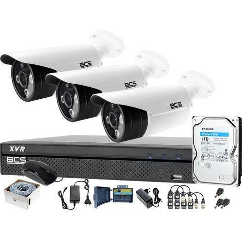3x kamera po skrętce BCS-TQE3200IR3-B Rejestrator BCS-XVR0401-IV Dysk 1TB Monitoring, ZM11451