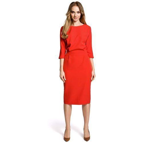 3e4f0e6d0e Czerwona sukienka wizytowa midi z kimonowym rękawem 3 4 marki Moe 134