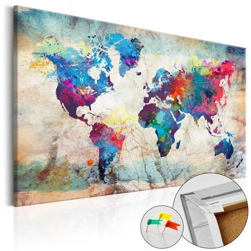 Obraz na korku - mapa świata: kolorowe szaleństwo [mapa korkowa] marki Artgeist