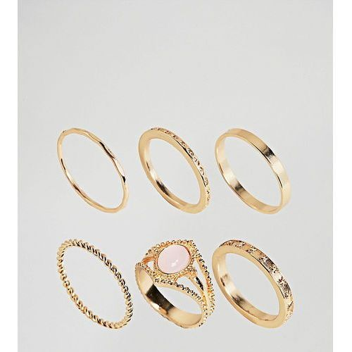 Asos curve Asos design curve exclusive pack of 6 vintage style rings in gold - gold