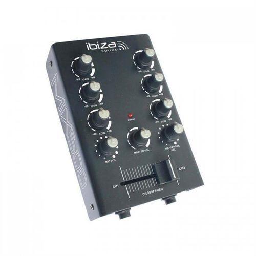 Ibiza Mix500 2-kanałowy mini stół mikserski mikser 2-pasmowy equalizer czarny