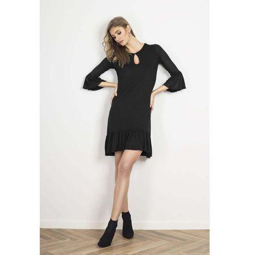 5a8d56814d Czarna urocza prosta sukienka z falbankami marki Wow point 99