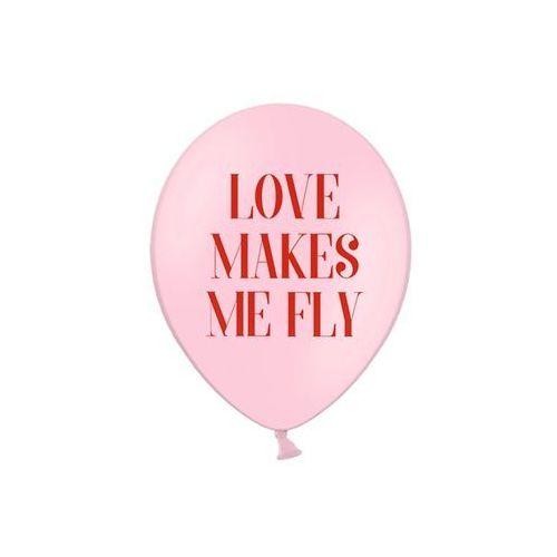 Balony z nadrukiem Love Makes Me Fly na walentynki - 30 cm - 50 szt.