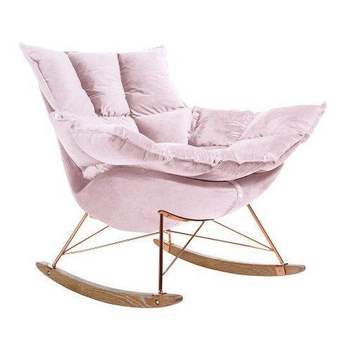 Fotel bujany Swing Velvet pudrowy róż