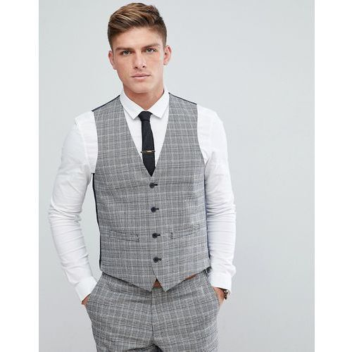 French Connection Prince Of Wales Blue Check Slim fit Waistcoat - Grey, kolor szary