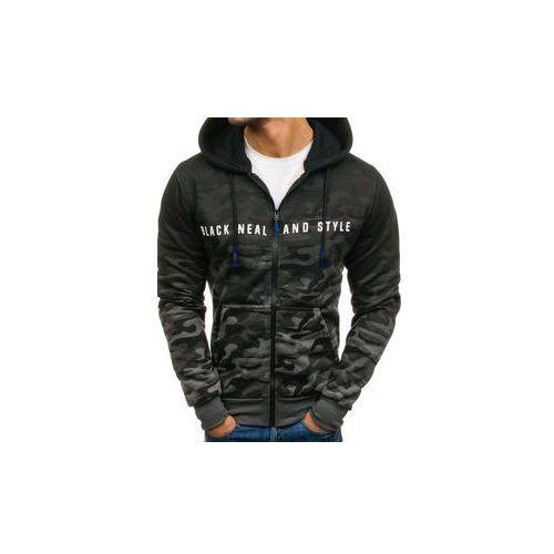 Bluza męska z kapturem rozpinana moro-grafitowa Denley DD86, z