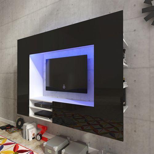 vidaXL Szafka ścienna na domowe centrum rozrywki, czarna, wysoki połysk - sprawdź w wybranym sklepie