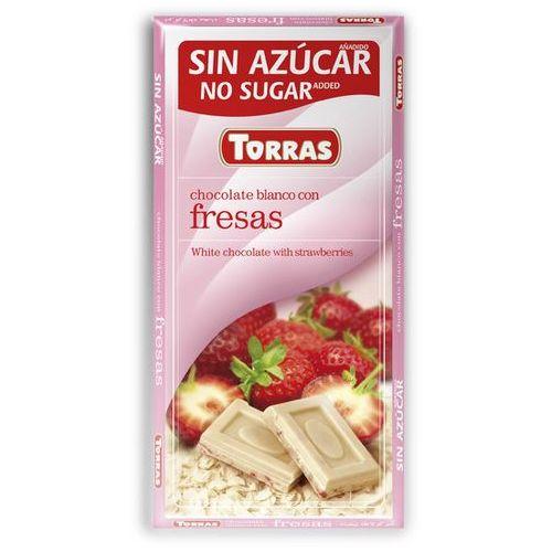 Torras Czekolada biała z truskawkami, bez cukru, bezglutenowa 75g