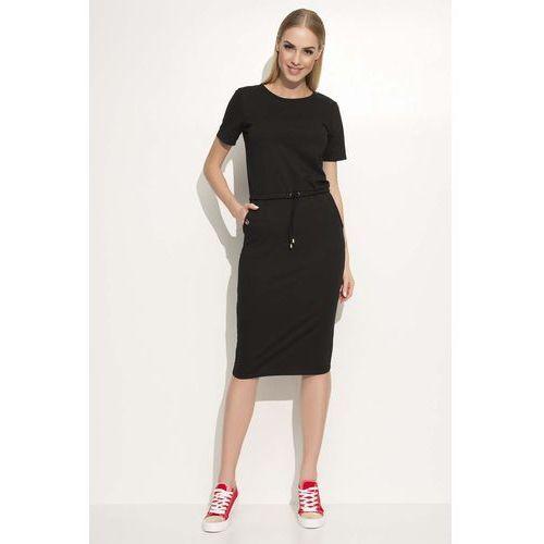Czarna Prosta Dzianinowa Sukienka Midi Wiązana w Pasie, w 6 rozmiarach