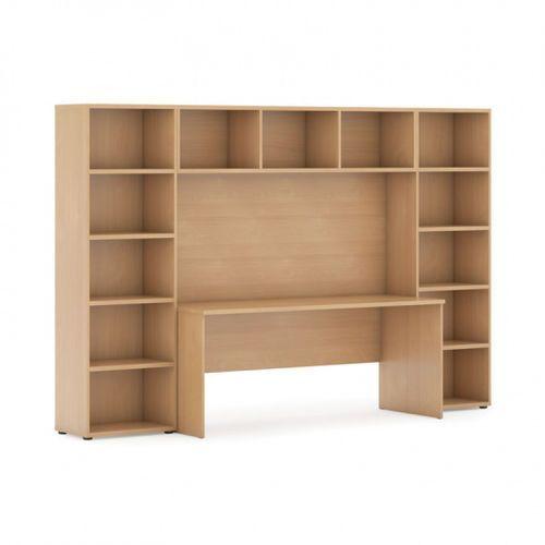 Biblioteka z wbudowanym biurkiem, 2950x700/400x1923 mm, buk