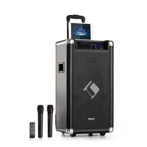 """Moving 120 Zestaw nagłośnieniowy 2 x głośnik niskotonowy 8"""" 60/200 W max. mikrofony VHF USB SD BT AUX przenośny"""