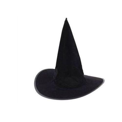 Kapelusz czarownicy flokowany na Halloween - 1 szt.