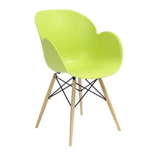 Fotel z drewnianymi nogami flower dsw premium zielony - polipropylen, podstawa bukowa marki King home