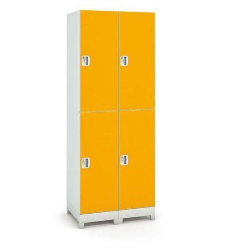 B2b partner Szafa z tworzywa sztucznego, 4 drzwi, pomarańczowy