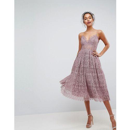 Asos design Asos lace cami midi prom dress - purple