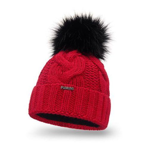 Zimowa czapka damska - czerwony - czerwony marki Pamami
