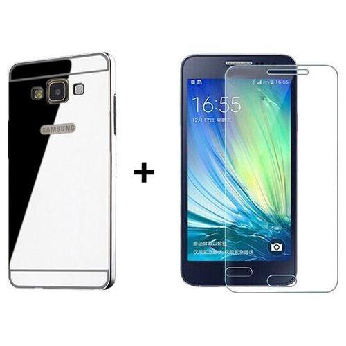 Zestaw Obudowa Bumper Metal Case Zolti Srebrna + Szkło ochronne Perfect Glass Samsung Galaxy A3