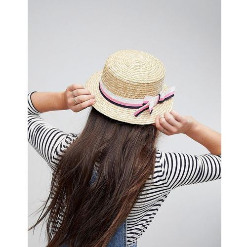 Asos natural straw short brim boater with stripe bow and size adjuster - beige